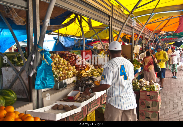 Covered floating market displaying produce and vegetables, Willemstad Curacao - Stock Image