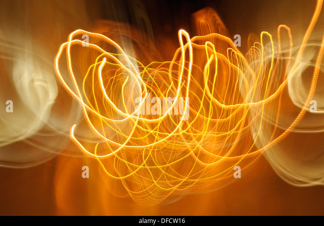 Portugal, Lisbon, Abstract light trails - Stock Image