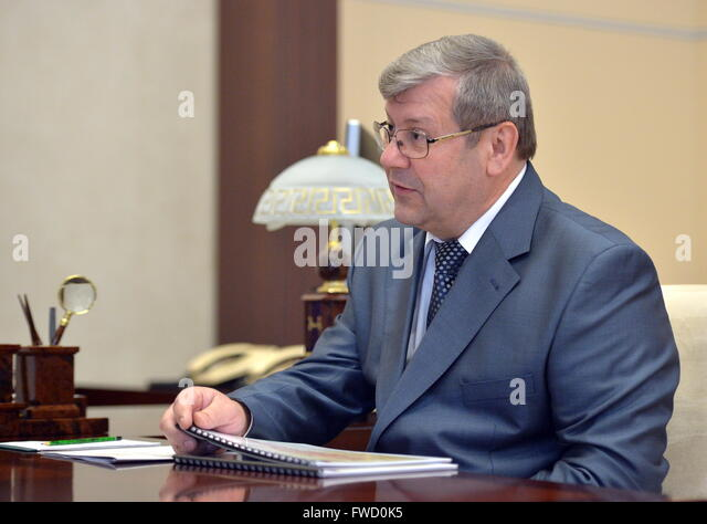 Moscow Region, Russia. 4th Apr, 2016. Andrei Artizov, head of the Russian Federal Archival Agency, during a meeting - Stock Image