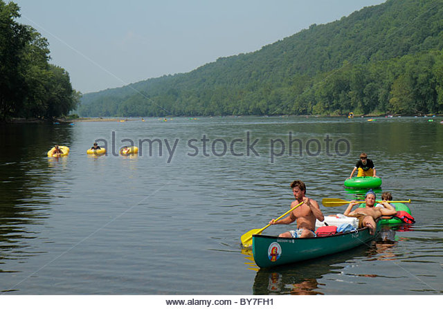 Pennsylvania Point Pleasant Delaware River New Jersey view River Country outfitters scenery canoes tubing row recreation - Stock Image