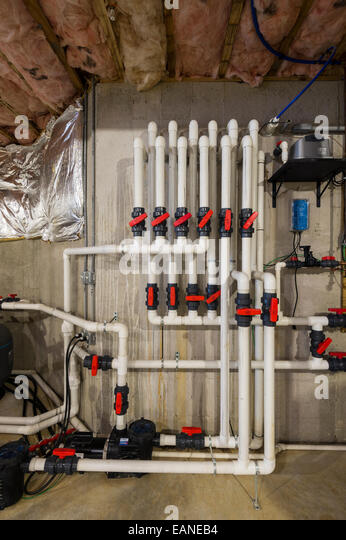 PVC Pipe Plumbing System In New Home Construction - Stock Image