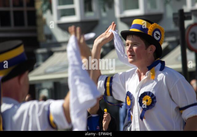 Young Male Morris Dancing - Stock-Bilder