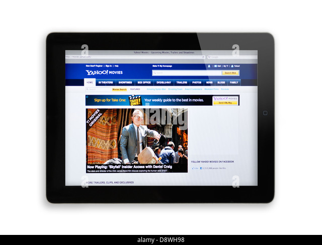 Yahoo movies website on iPad - Stock Image