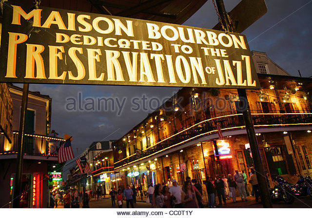 New Orleans Louisiana French Quarter National Historic Landmark street scene Bourbon Street Maison Bourbon business - Stock Image