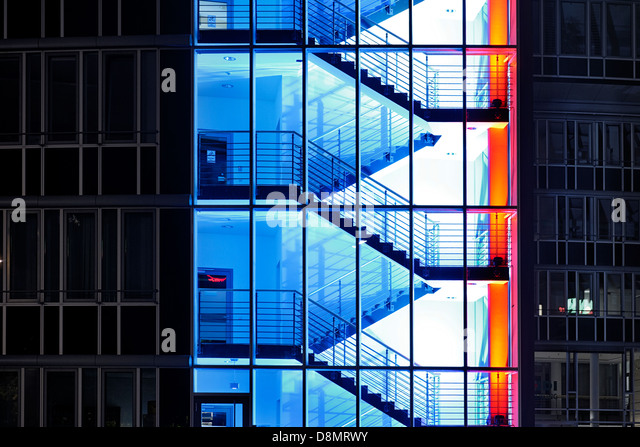 Illuminated business building, City Nord Festival of Lights, Hamburg, Germany - Stock Image