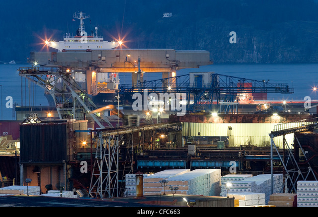 container ship loaded supplies Campbell River's - Stock Image