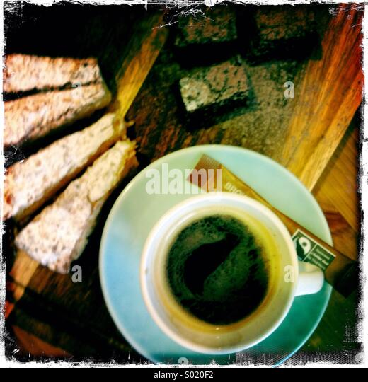 Expresso and slice of cake - Stock Image