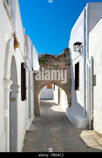 Old Town Lindos, Rhodes Island, Greece - Stock Image
