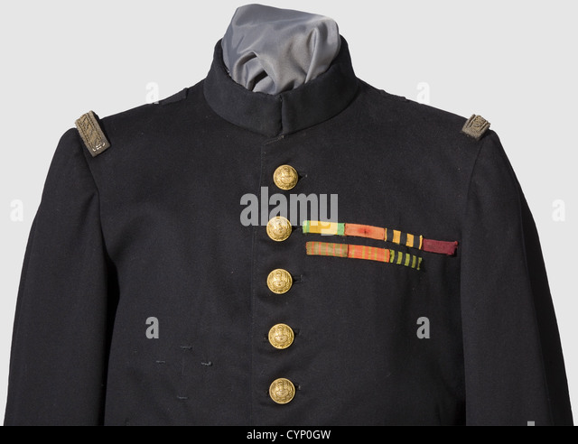 Marshal Ferdinand Foch (1851 - 1929) - a personal tunic model 1893 as General of Division, Fine black cloth, the - Stock Image
