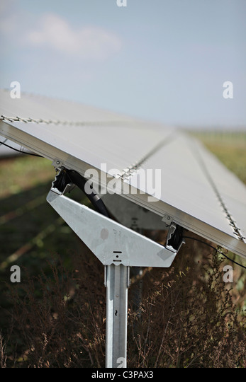 Germany, Bavaria, Landsberg, Solar cells on solar plant - Stock Image