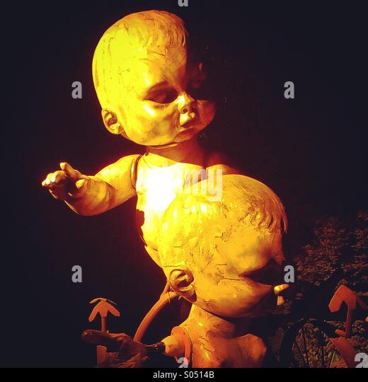 Babies Statues, Shangrila, Glastonbury Festival - Stock Image