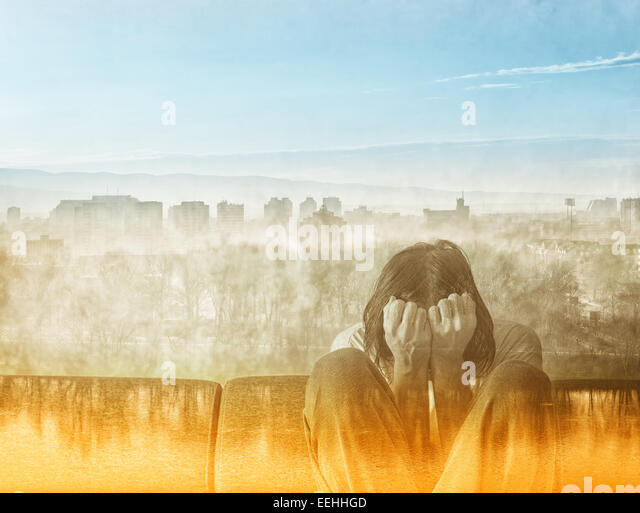 Social Alienation Concept, Depressed Man covering face and crying in despair. - Stock-Bilder