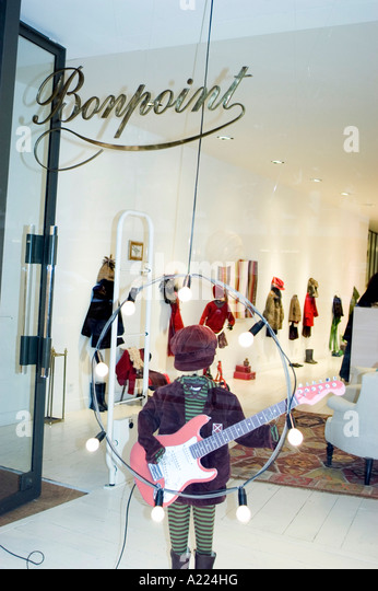 Paris, France, Shopping, Luxury Shops, Boutique  'Bonpoint' Shop Front Window Display Children's Clothing - Stock Image