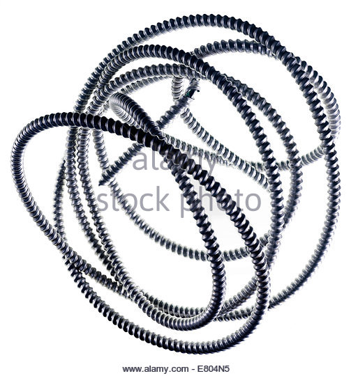Still life of galvanized industrial & electrical conduit on white background - Stock Image