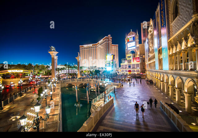 The Venetian at night, Las Vegas, Nevada, United States of America, North America - Stock Image