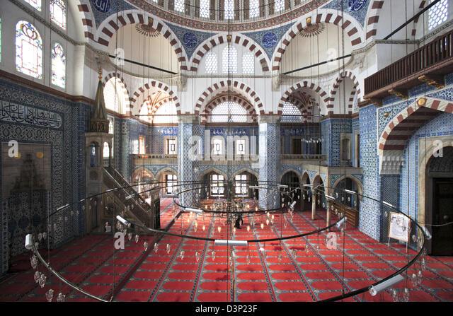 Rustem Pasha Camil Ottoman Mosque, Istanbul, Turkey. Famous for its large quantity of exquisite Iznik tiles - Stock Image