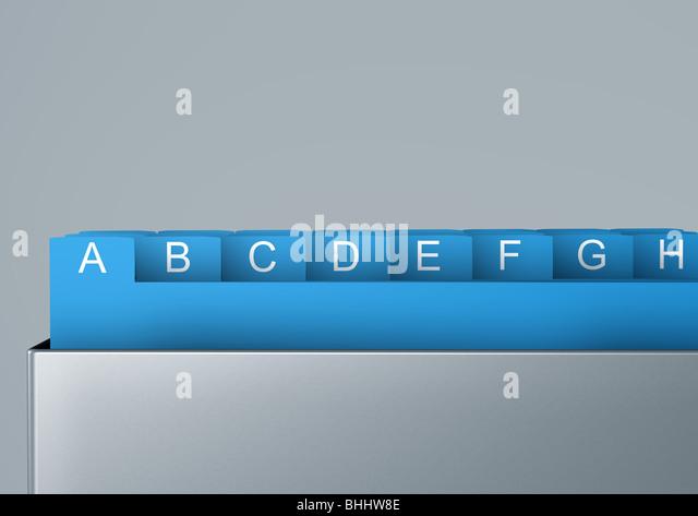 cardbox, alphabetical order - Karteikasten - Stock Image
