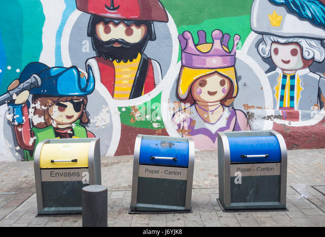 Underground rubbish/recycling containers for paper and plastic household waste on Tenerife, Canary Islands, Spain. - Stock Image