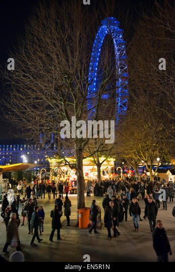 Christmas fair at the South bank - Stock Image