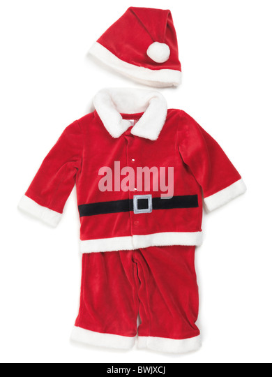 Red baby santa costume. Isolated outfit on white background. - Stock Image