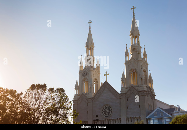 Saint Peter and Paul Church, Detail, Washington Square, San Francisco, California, USA - Stock Image