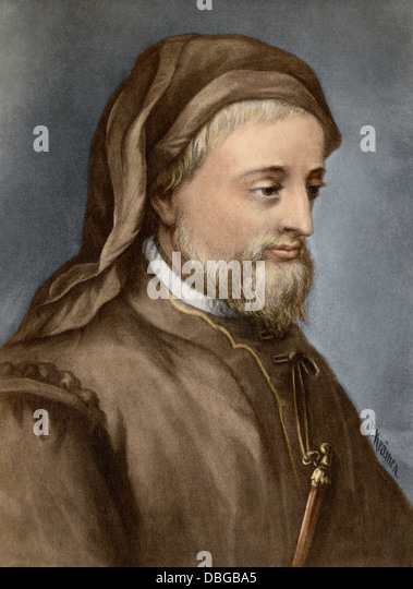 Geoffrey Chaucer. - Stock Image