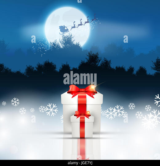 Christmas gift background with santa flying through the sky - Stock Image