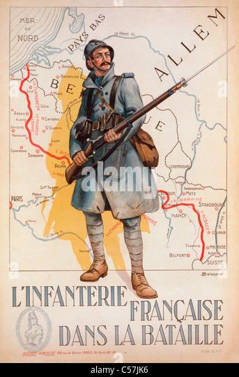 French First World War recruiting poster. L'Infanterie Francaise Dans la Bataille, or, French Infantry in the - Stock Image