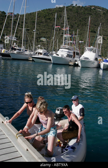 BVI Tortola Frenchmans Cay Soper's Hole Wharf and Marina dinghy boat - Stock Image