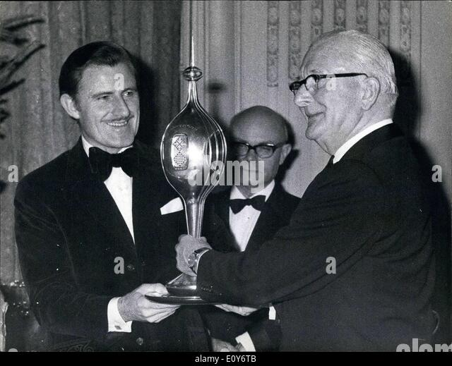 Dec. 12, 1968 - Presentation of the 1968 Motor Sport Awards racing driver Graham Hill Presented with two trophies: - Stock Image