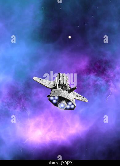 Interplanetary Spaceship Flying Towards a Nebula - Stock Image