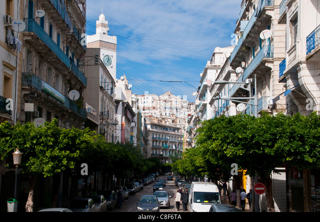street with view of the Kasbah of Algiers, Algeria, North Africa - Stock Image
