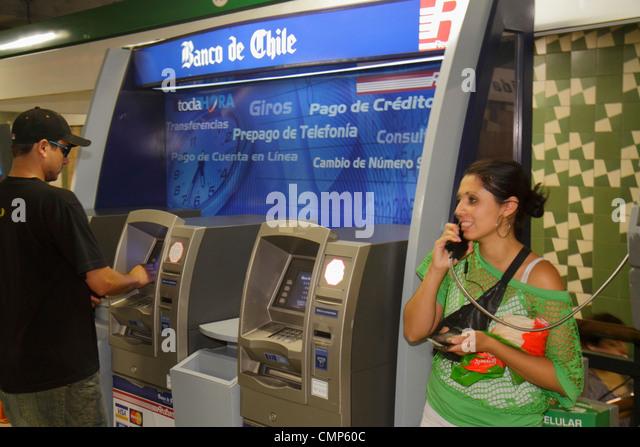 Chile Santiago Providencia Metro Station Parque Bustamante subway public transportation rapid transit ATM automated - Stock Image