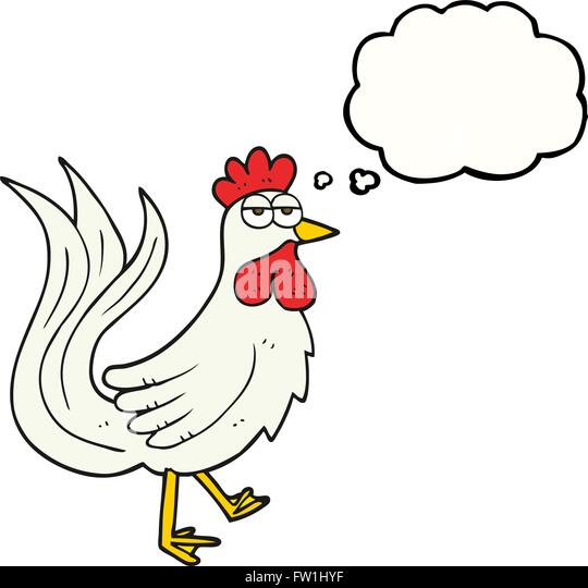 freehand drawn thought bubble cartoon cock - Stock-Bilder