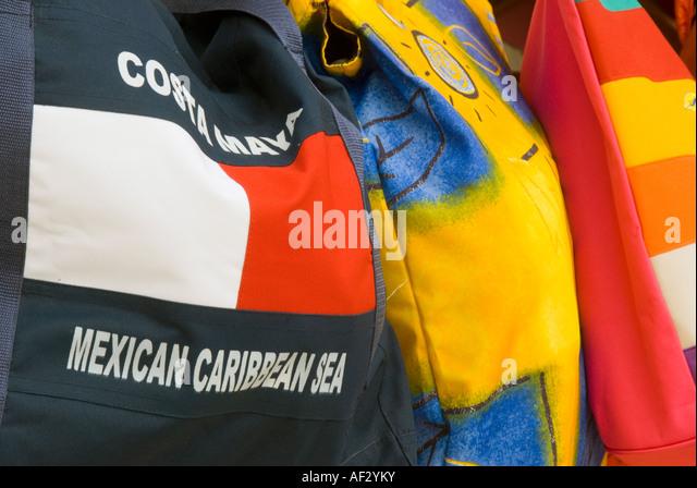 Costa Maya resort area port shopping mall souvenir beach bag name - Stock Image