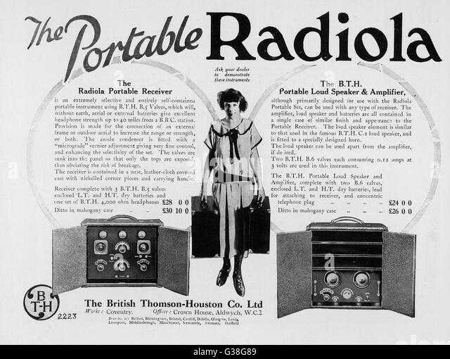 The Portable (well, sort of) RADIOLA receiver, loud speaker  and amplifier        Date: 1924 - Stock Image