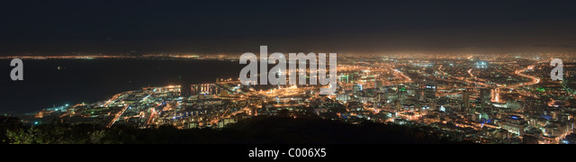 Cape Town at night panoramic view from Signal Hill South Africa - Stock Image