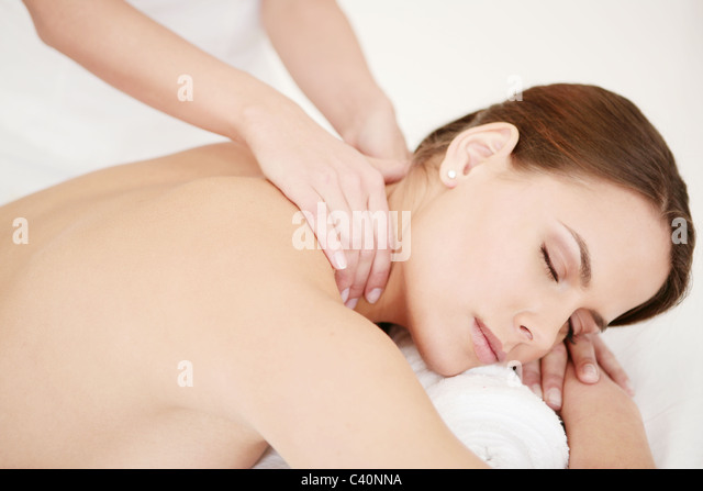 beauty, young, women, massage, relaxing, spa, giving, females, adults, girls, caucasians, beauty care, body, care, - Stock Image