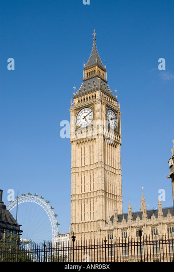 The Big Ben Clock Tower at the Houses of Parliament in Westminster London England - Stock Image