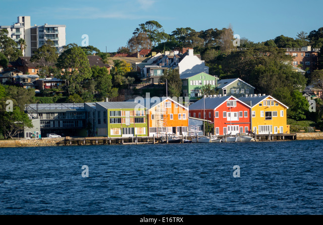 Sydney Australia NSW New South Wales Harbour harbor water East Balmain waterfront homes houses - Stock Image