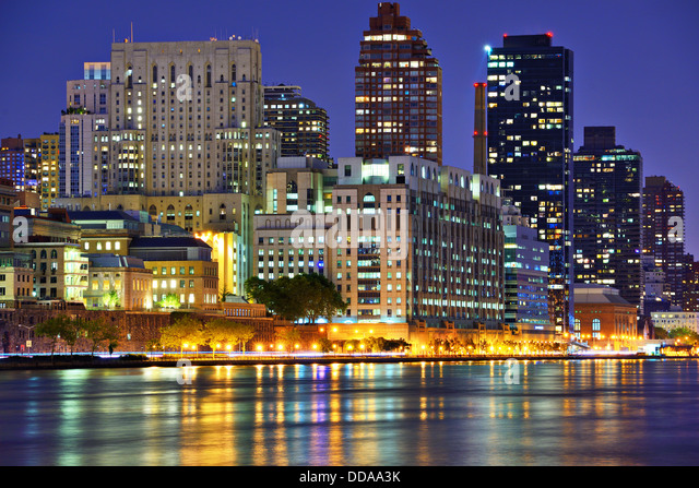 Upper East Side New York City skyline viewed from across the East River. - Stock Image