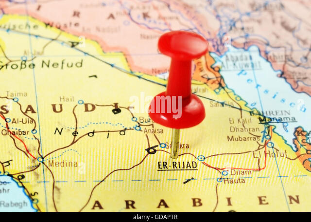 Close up of  Er Riyadh,Saudi Arabia   map with red pin  - travel concept - Stock Image