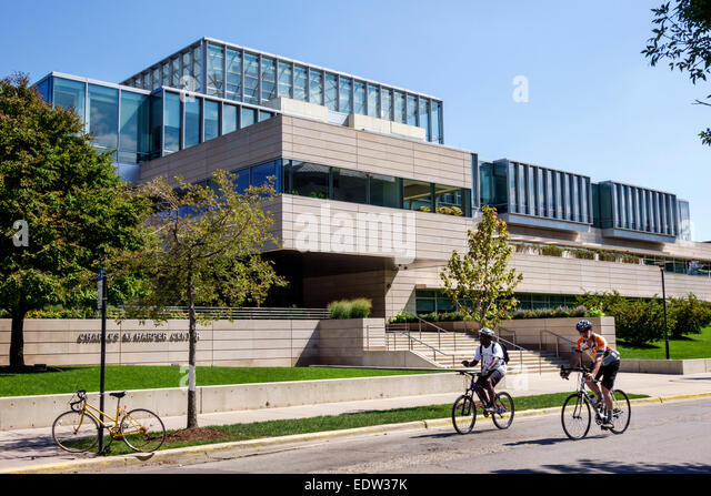 Chicago Illinois Hyde Park campus University of Chicago Booth School of Business Harper Center front - Stock Image