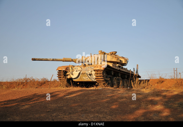 An old Centurion tank at Tel Saki, Golan Heights, Israel. This was a site of fierce battle during the Yom Kippur - Stock Image