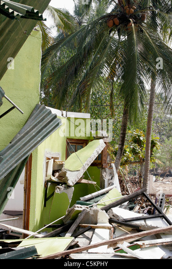 Sri Lanka, house on SW coast near Beruwela damaged by 2004 tsunami, coconut palm in background - Stock Image