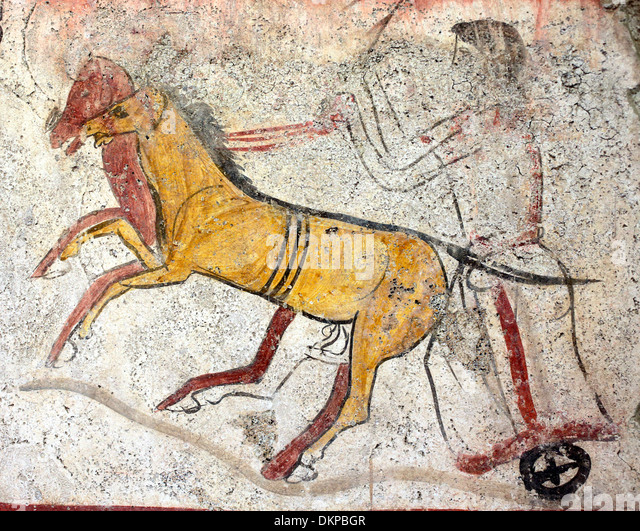 Chariot painting stock photos chariot painting stock for Ancient greek mural