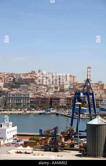 Cagliari City and Harbour, Sardinia, - Stock Image
