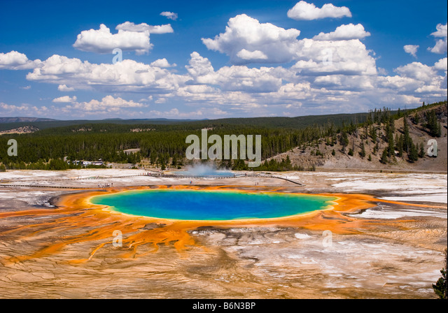 High angle view of Grand Prismatic Springs, Yellowstone National Park, Wyoming USA - Stock-Bilder