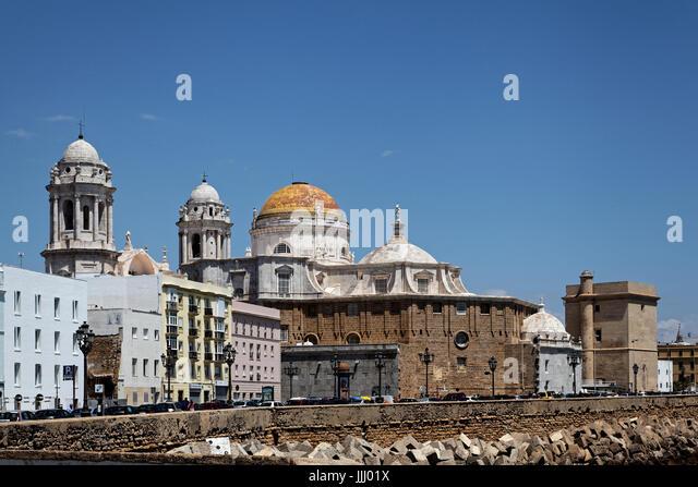 Cadiz Cathedral (Catedral de Santa Cruz de Cádiz), Plaza Catedral, Cadiz, Spain - Stock Image