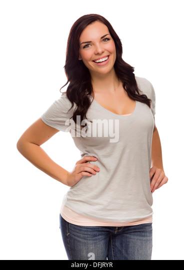 Beautiful Mixed Race Female Isolated On White Background - Stock Image
